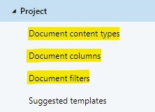 A workspace configuration's document columns and filters