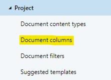 A workspace configuration's document columns