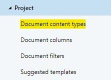 A workspace configuration's document content types