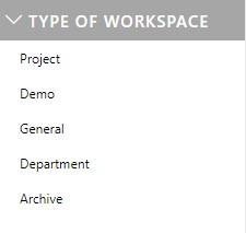A workspace filter