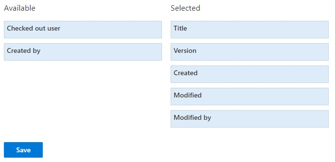 Archive configuration - Select columns to show