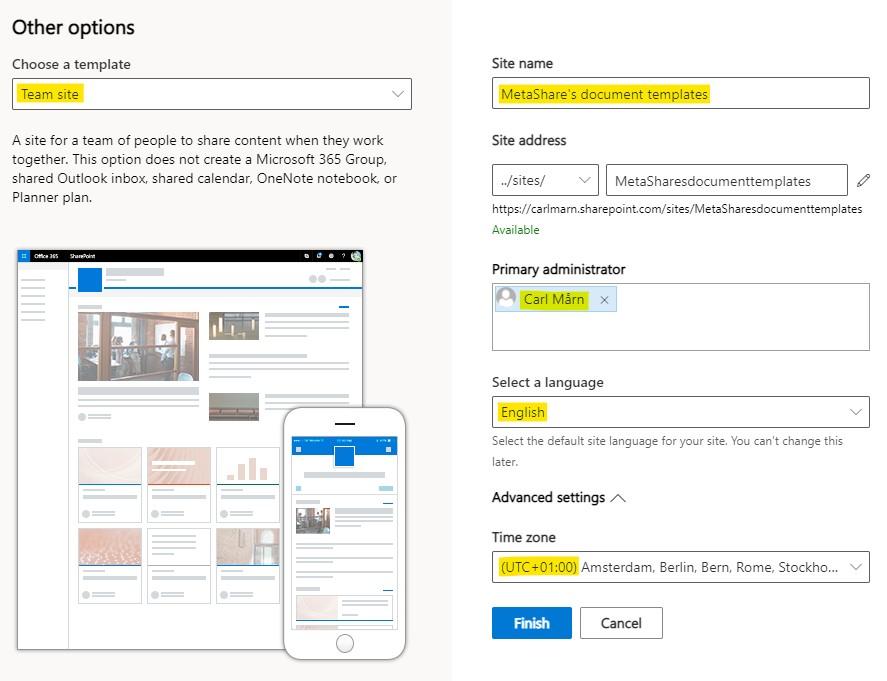 Create a team site