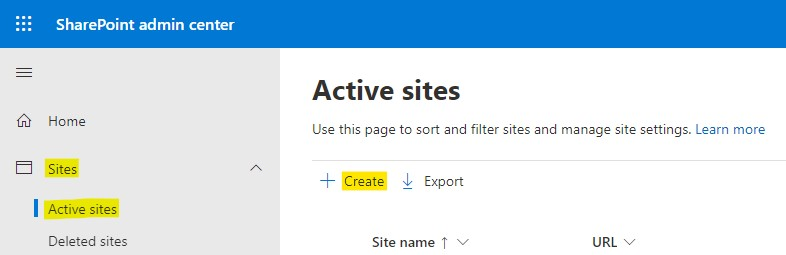 Create site in SharePoint admin