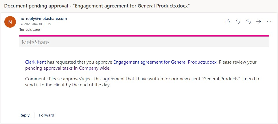 Document approval e-mail