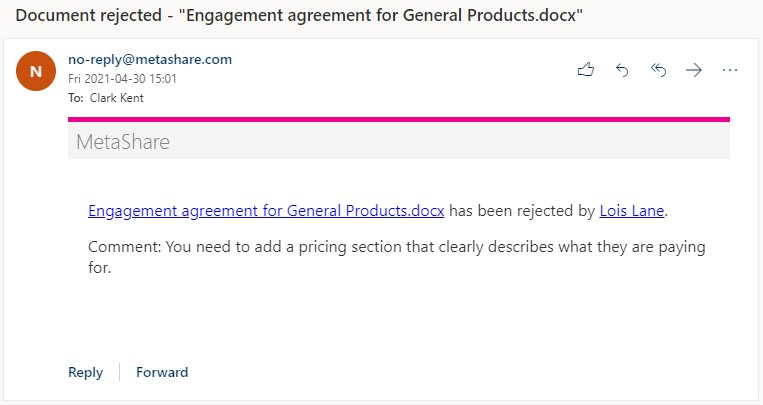 Document has been rejected e-mail