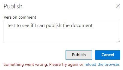 Error when publishing a document