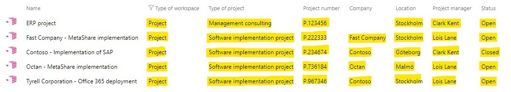 Filtering on workspace metadata