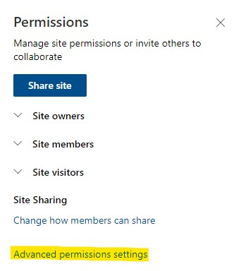 Link to advanced permissions settings