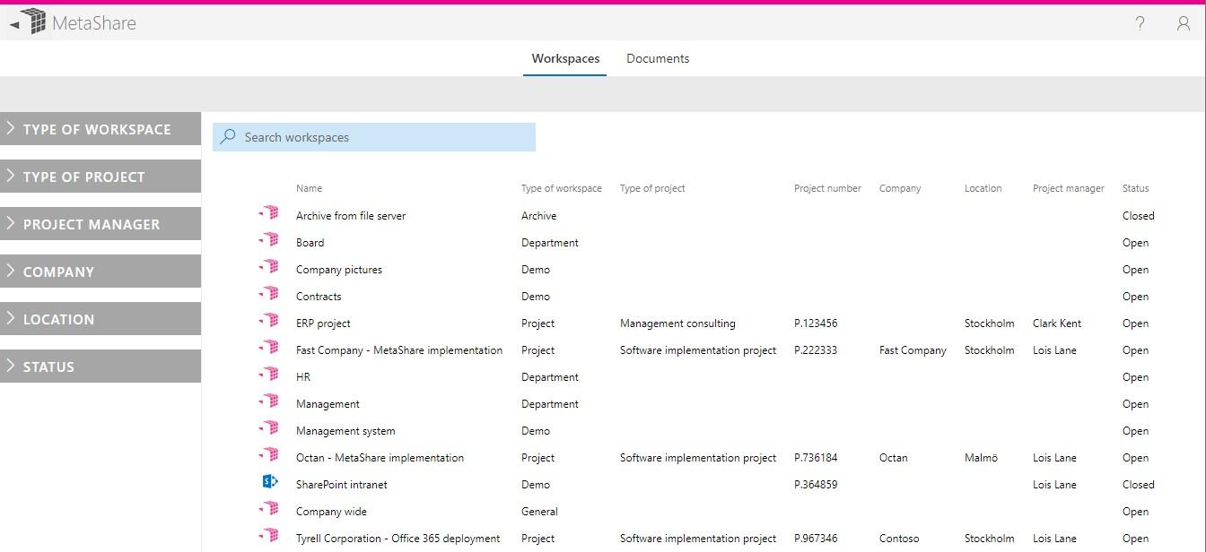 MetaShare's start page