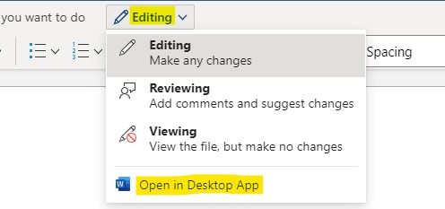 "the ""Open in Desktop App"" option, when you click on the ""Editing"" function"