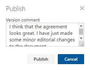 Publishing comments