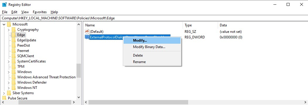 "Right-click the ""ExternalProtocolDialogShowAlwaysOpenCheckbox"" value and select ""Modify…"""