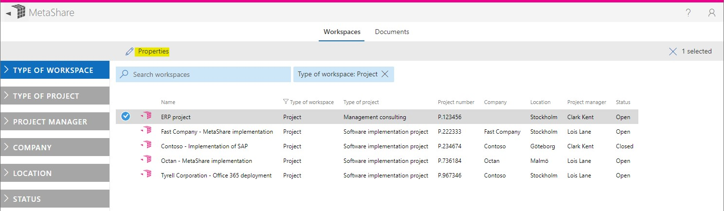 Select a workspace and click on properties
