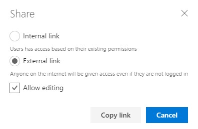 Share a public link to a document