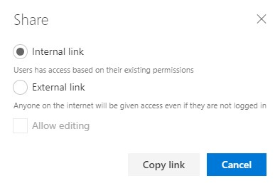 Share an internal link to a document