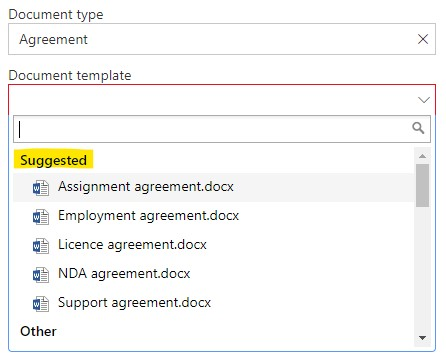 Suggested templates in the document form