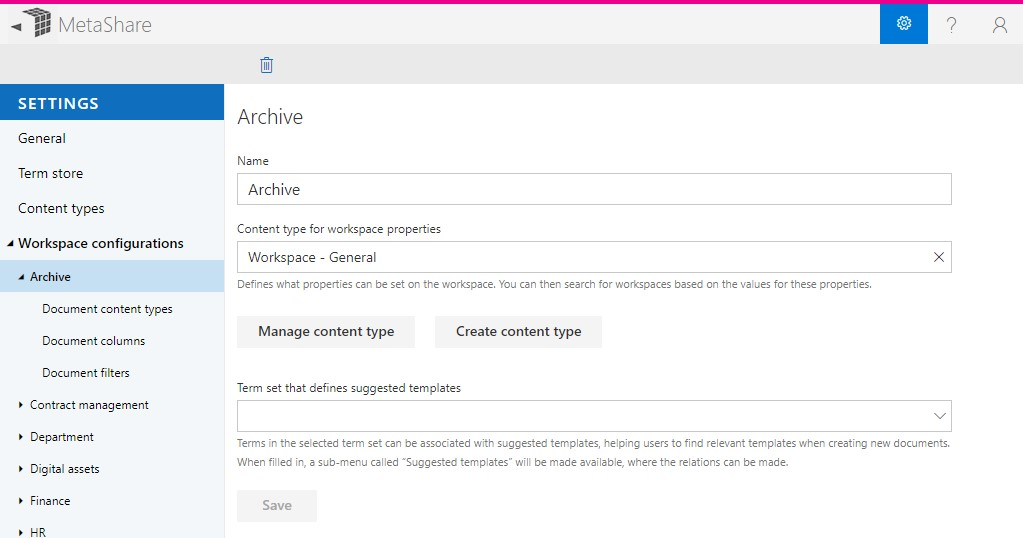 The archive workspace configuration