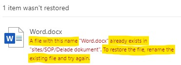 Unable to restore a document