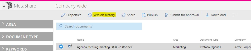 View a document's version history