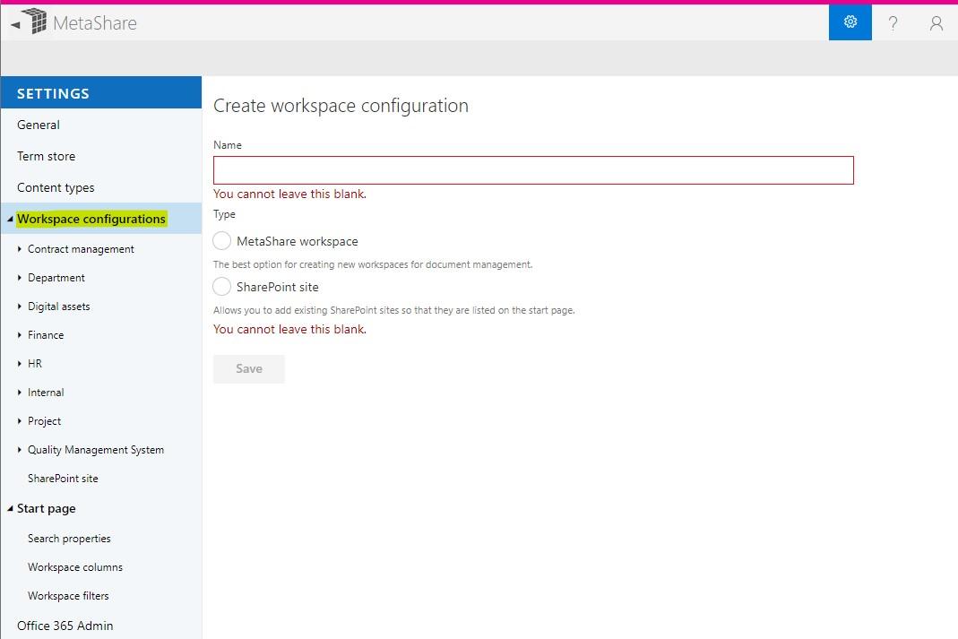 Workspace configurations