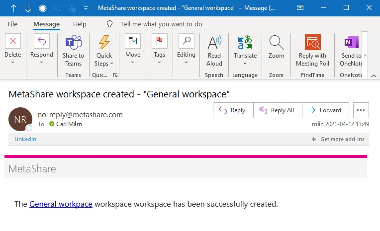 Workspace creation confirmation