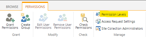 """Link to the """"Permission levels"""""""