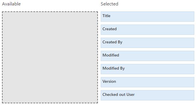 The workspace configuration's document columns