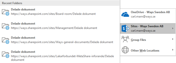 """Select the """"Sites - [Your company name]"""" option"""