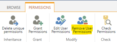 """Click on the """"Remove Users Permissions"""" function"""
