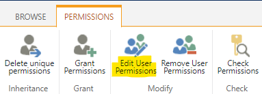 """Click on the """"Edit User Permissions"""" function"""