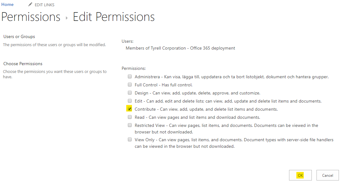 """Change the permissions for the selected users/groups and the click on the """"OK"""" button"""
