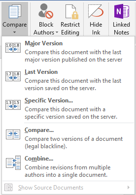 """A Word document's """"Compare"""" function"""