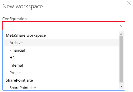 Workspace configurations grouped by configuration type