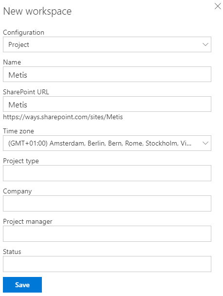 Workspace creation form, for a new MetaShare workspace