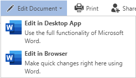 "The ""Edit Document"" functions in the toolbar"
