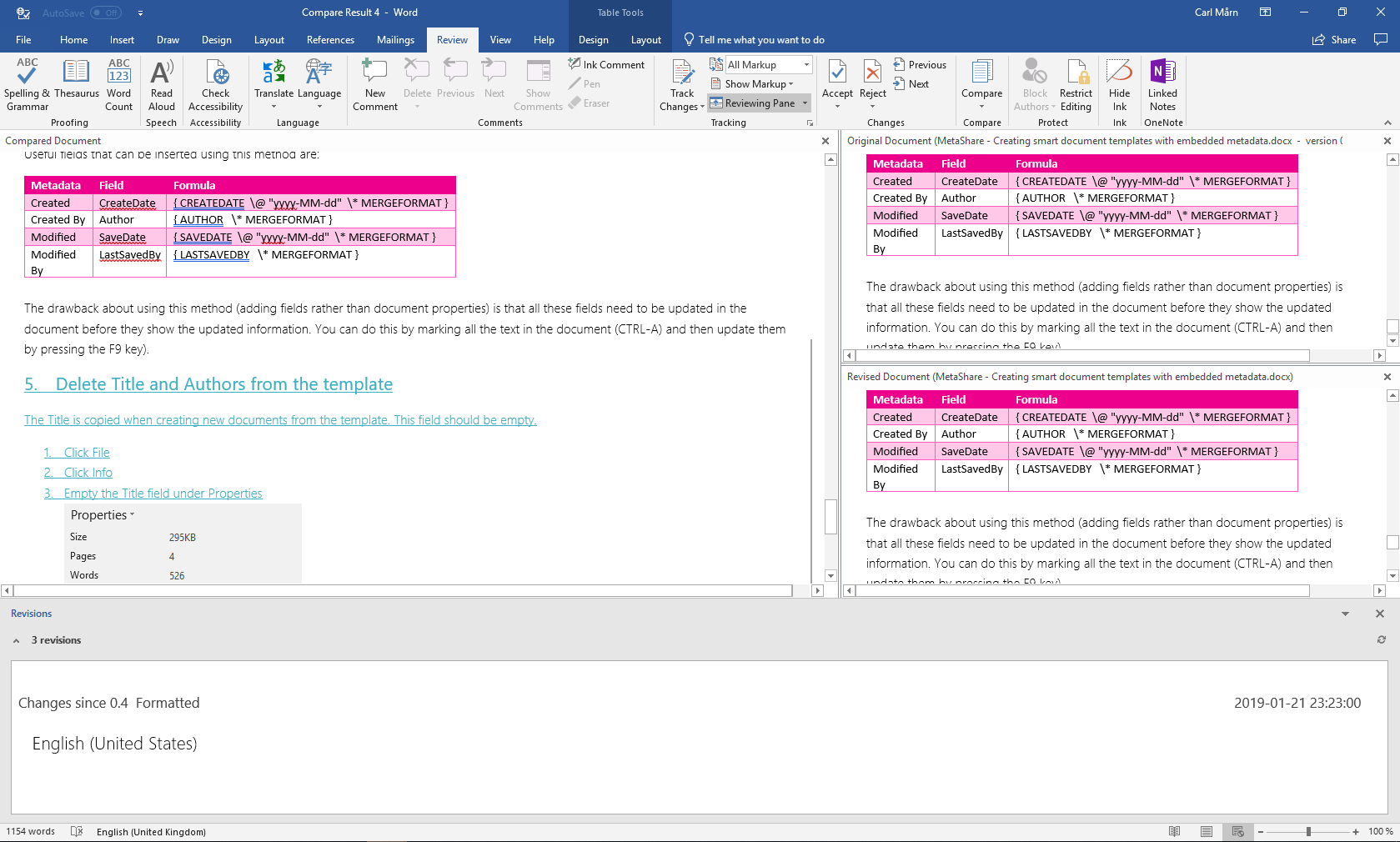 Showing the differences between two different document versions