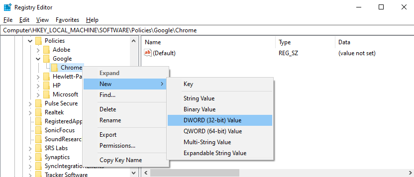 """Right-click the """"Chrome"""" key and select """"New"""", and then """"DWORD (32-bit)"""