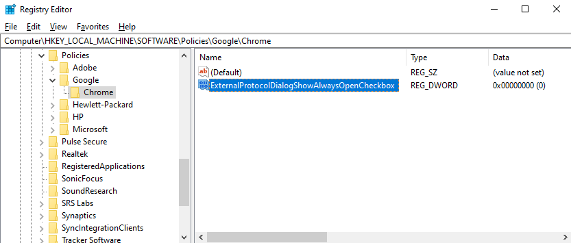 """Type """"ExternalProtocolDialogShowAlwaysOpenCheckbox"""", and press the """"Enter"""" key on your keyboard"""