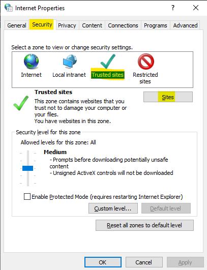 Internet Properties' Security tab