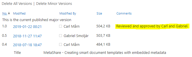 A version comment shown in the document's version history