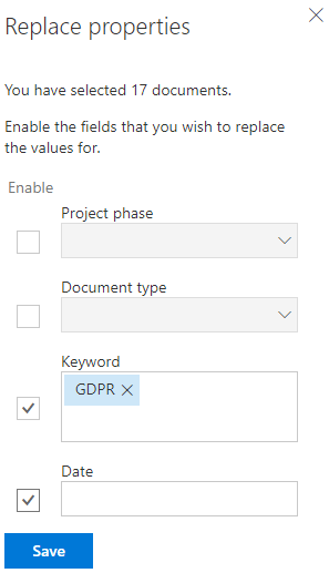A multiple documents' property form, here with some metadata changes