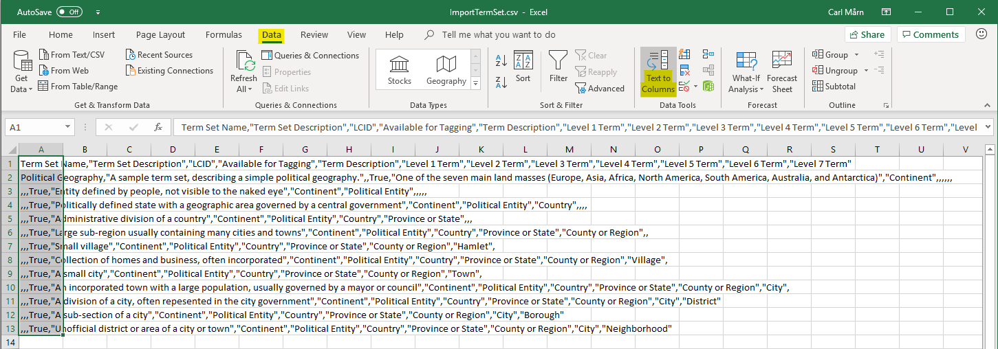 """Select the """"Text to Columns"""" command"""