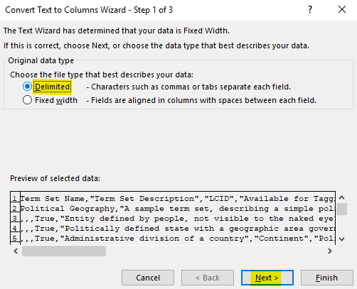 """Set the """"Original data type"""" to """"Delimited"""" and then click on the """"Next"""" button"""