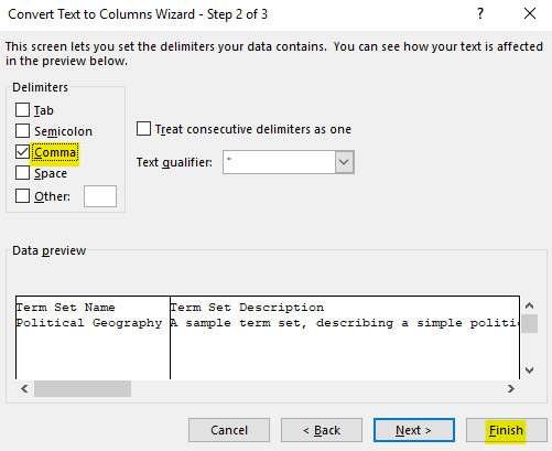 """Change the """"Delimiters"""" option to Comma and then click the """"Finish"""" button"""