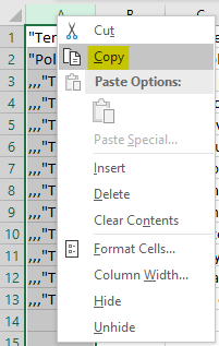 """Right click on column """"A"""" and select the """"Copy"""" option"""