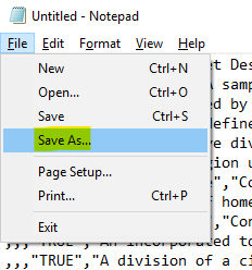 """Save the file by choosing the """"Save As…"""" option"""