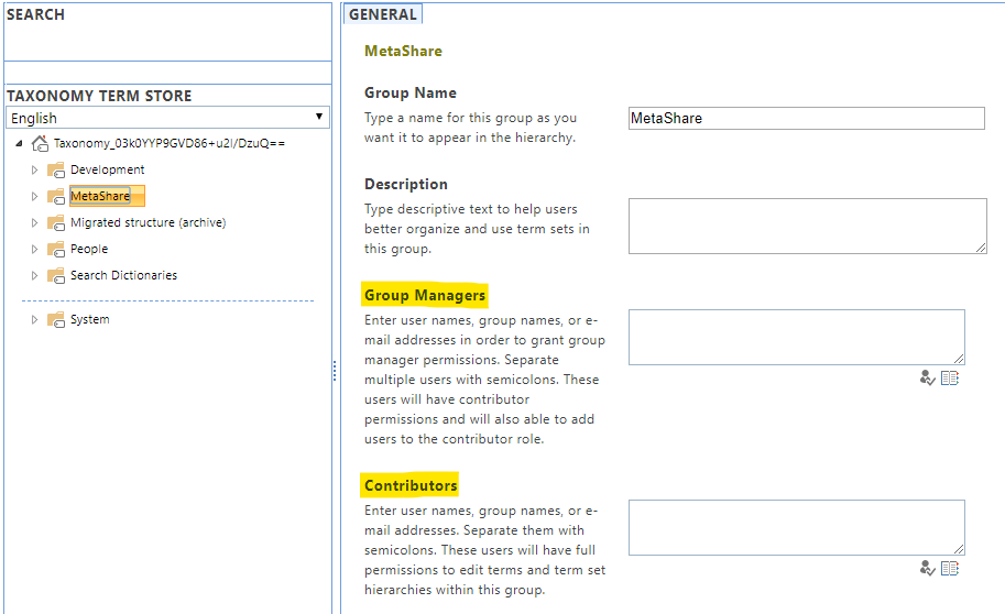 Where to define a term set group's managers and contributors