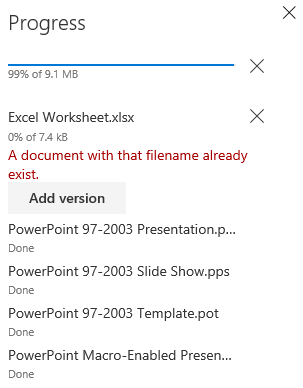 MetaShare's file upload progress window warning that there is a document with an identical name