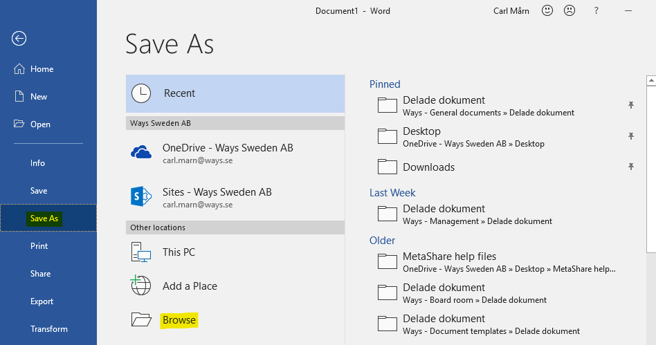 Save a document by browsing for a folder