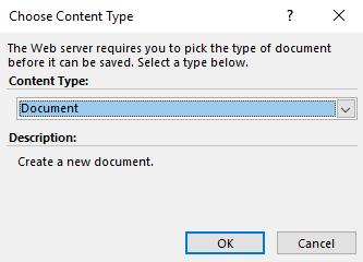 Which Content Type should the document be saved as - by default, Document is proposed